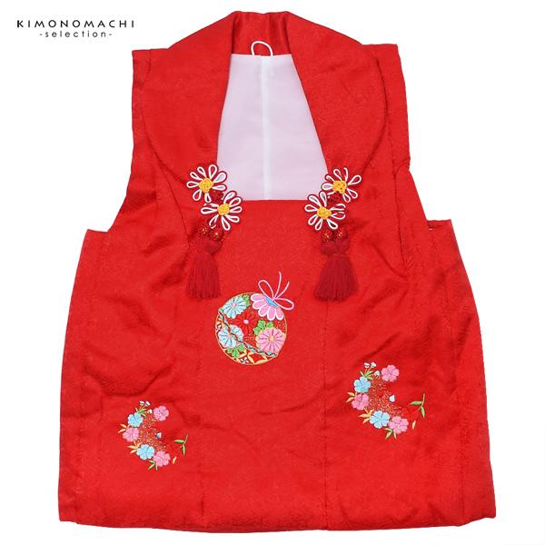 女児 被布コート単品「赤色 鈴」3歳児用 女の子小物 お子様被布コート 和装小物 倫花宝【メール便不可】