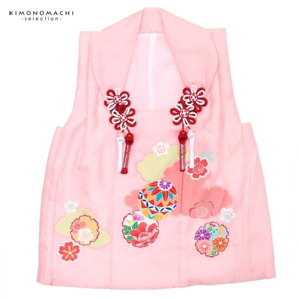女児 被布コート単品「薄ピンク色 雲に毬、雪輪」3歳児用 女の子小物 お子様被布コート 和装小物 大和路【メール便不可】