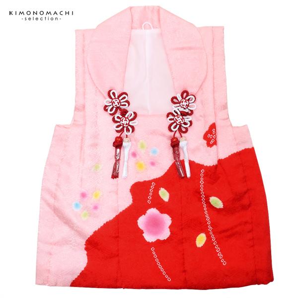 女の子被布コート単品「ピンク×赤色 絞りのお花」3歳児用 七五三 七五三小物 絞り お子様被布コート 紅花【メール便不可】