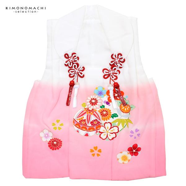 女児 被布コート単品「白×ピンク 毬と草花」3歳児用 女の子小物 お子様被布コート 和装小物 都路【メール便不可】