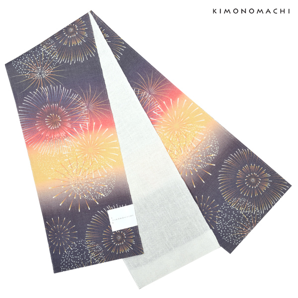 麻 半幅帯「花火」浴衣帯 小袋帯 夏帯 日本製 <H>【メール便不可】