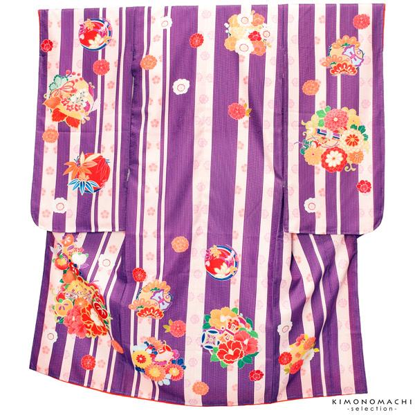 七五三 四つ身着物単品「紫色 縞に花の丸」取り寄せ品 七五三祝い KAGURA こども着物 KS2M【メール便不可】