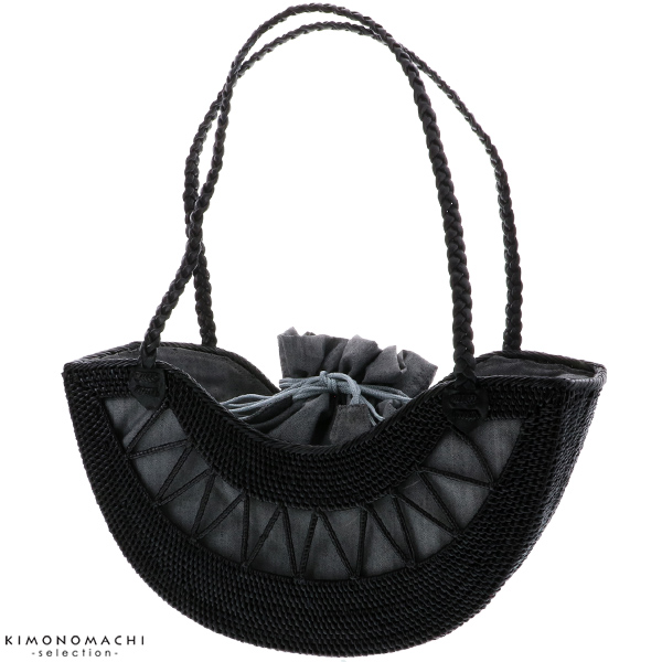 ラウンド透かし編み アタバッグ「ブラック」アタ 夏バッグ 夏祭り、花火大会に 籠バッグ 【メール便不可】
