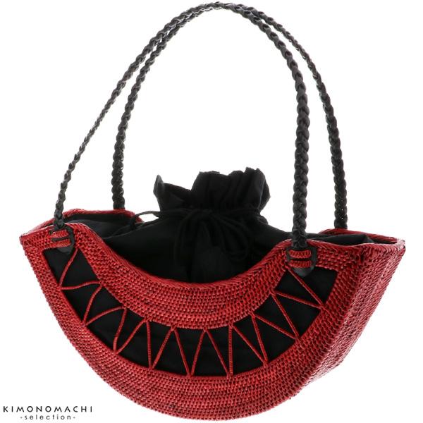 ラウンド透かし編み アタバッグ「レッド」アタ 夏バッグ 夏祭り、花火大会に 籠バッグ 【メール便不可】