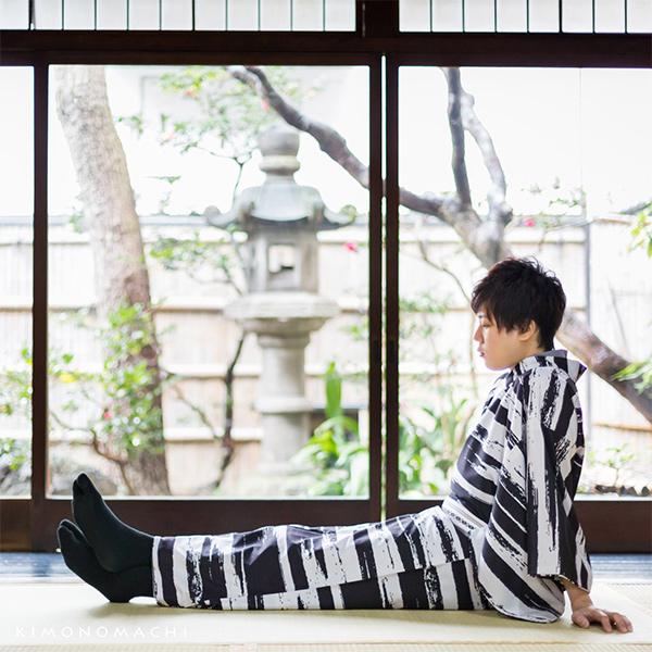 遅れてごめんね父の日 クーポンで10 OFF 6 30迄 洗える着物 メンズ 男性 単衣着物 ポリエステルかすれ 白×黒S M L LL 3L 男着物単品 着物 男性用 単衣着物単品 紳士着物 メンズ着物 きもの kimonoメール便不可LA4j35R