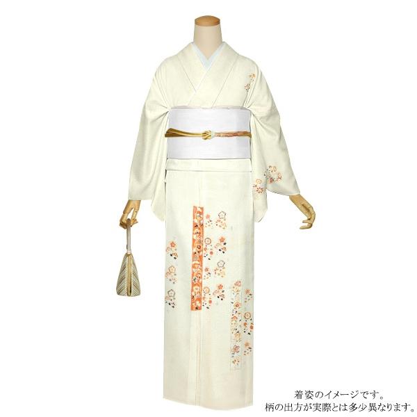 お仕立て上がり 訪問着単品「灰白色 花更紗」正絹着物 礼装 正絹訪問着 高級プレタ <T>【メール便不可】
