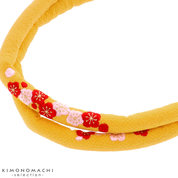 刺繍 帯締め「芥子色 梅の花刺繍」七五三 七五三小物 丸ぐけ 和装小物 <H>【メール便対応可】