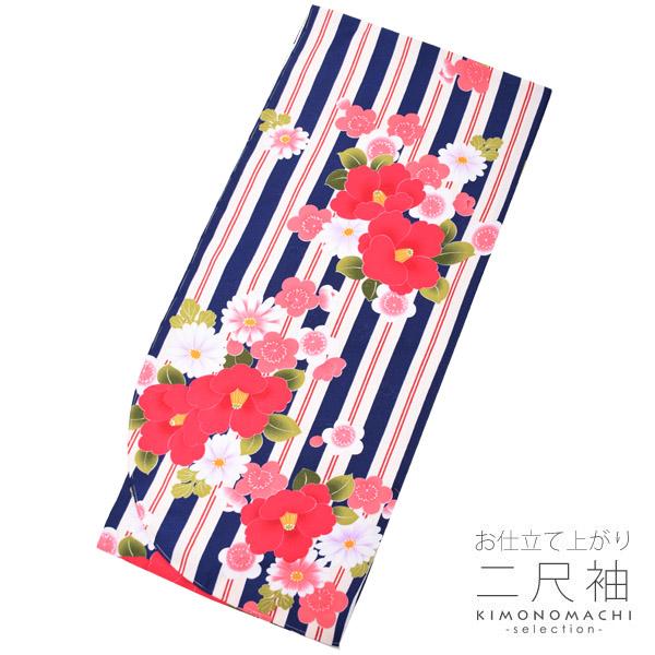 二尺袖 着物単品「紺色×赤 縞につばき、梅」フリーサイズ 二尺袖 卒業式の袴に (8FN-122)<H>【メール便不可】