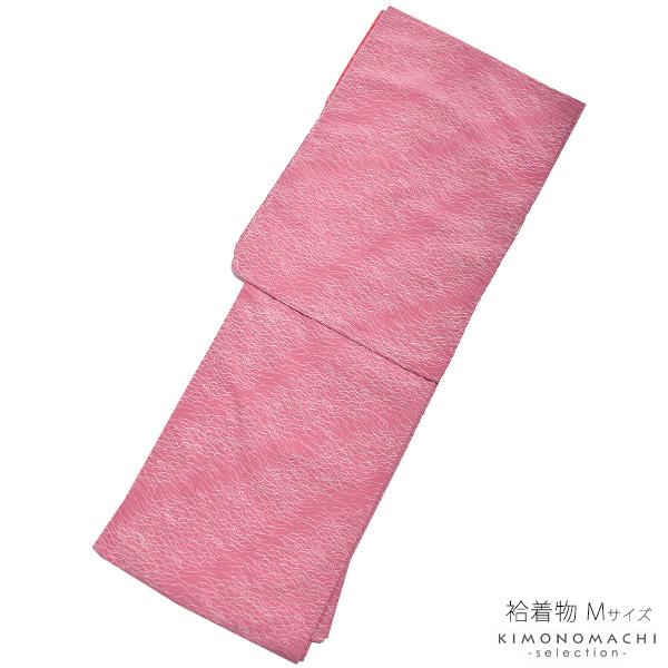 袷 着物単品「紅藤色 露芝」Mサイズ 日本製 カジュアル着物 袷着物 <T><U>【メール便不可】