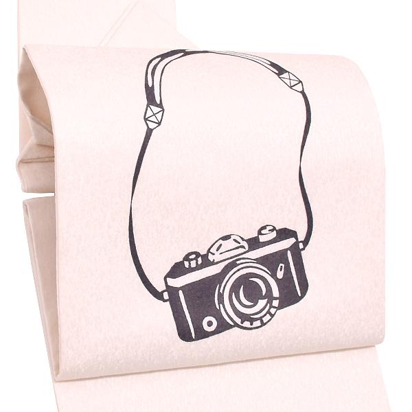 紋意匠 正絹名古屋帯「白色 カメラ」お仕立て上がり名古屋帯 お太鼓柄 洒落帯 九寸名古屋帯 【メール便不可】