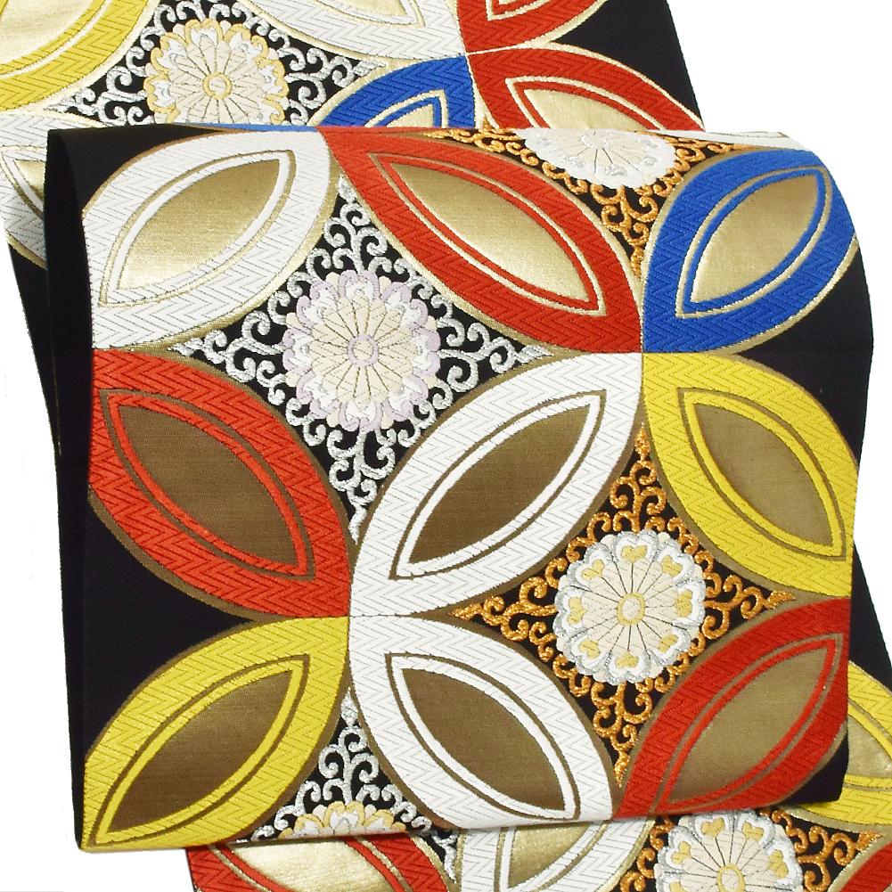 振袖 袋帯「黒色 七宝」未仕立て 正絹帯 礼装帯 フォーマル <T>【メール便不可】