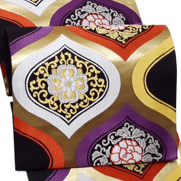 振袖 袋帯「黒×金色 更紗」未仕立て 正絹帯 礼装帯 フォーマル <T>【メール便不可】