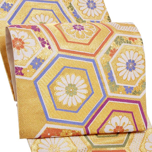 振袖 袋帯「ゴールド 亀甲」未仕立て 正絹帯 礼装帯 フォーマル <T>【メール便不可】