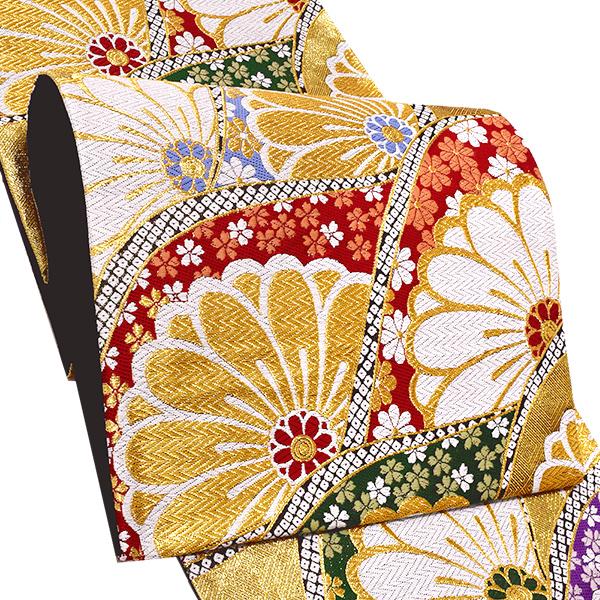 振袖 袋帯「ゴールド 波重ね」未仕立て 正絹帯 礼装帯 フォーマル <T>【メール便不可】