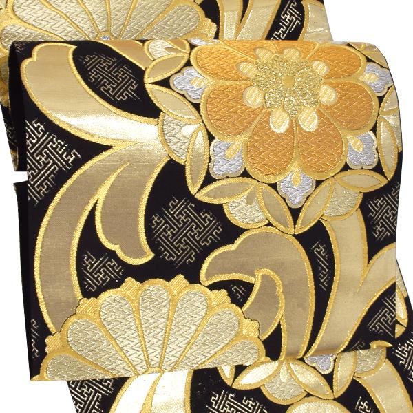 振袖 袋帯「黒色 花文」未仕立て 正絹帯 礼装帯 フォーマル <T>【メール便不可】