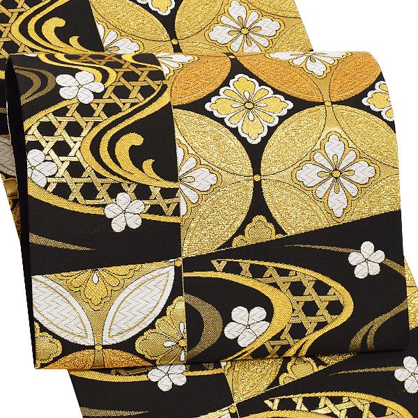 振袖 袋帯「黒色 市松に流水、七宝」未仕立て 正絹帯 礼装帯 フォーマル <T>【メール便不可】