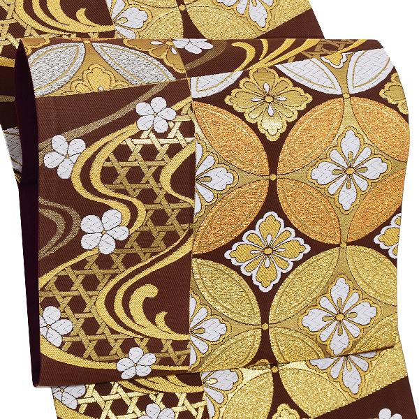 振袖 袋帯「茶色 市松に流水、七宝」未仕立て 正絹帯 礼装帯 フォーマル <T>【メール便不可】