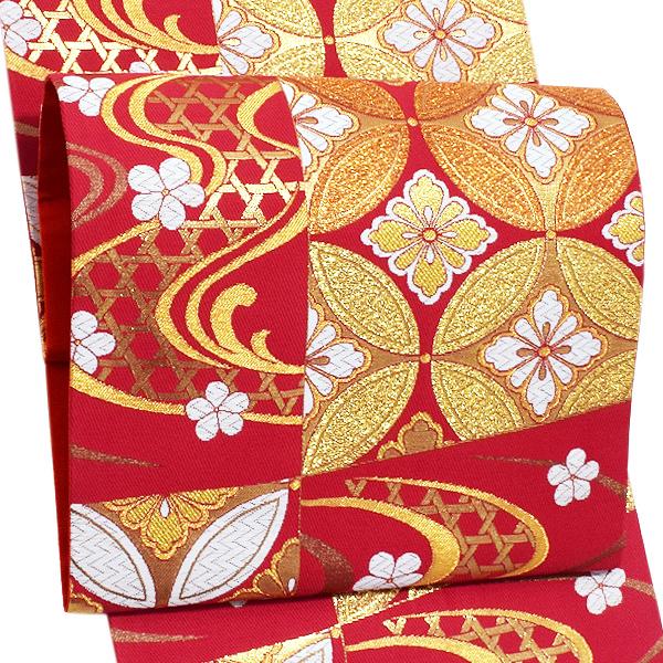 振袖 袋帯「赤紅色 市松に流水、七宝」未仕立て 正絹帯 礼装帯 フォーマル <T>【メール便不可】