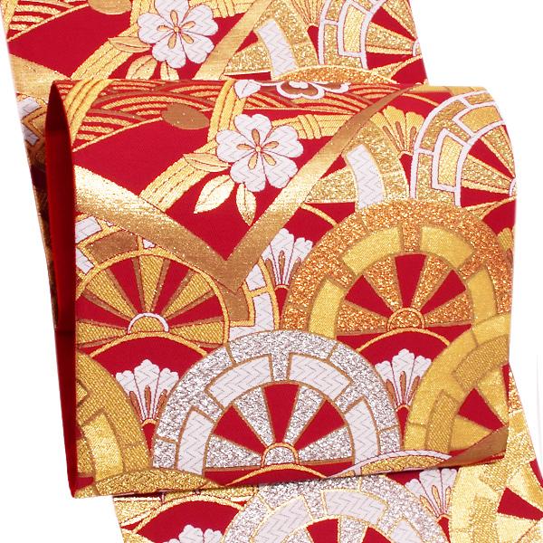 振袖 袋帯「赤色 源氏車」未仕立て 正絹帯 礼装帯 フォーマル <T>【メール便不可】