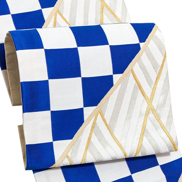 振袖 帯 「縞市松 白×ブルー」 日本製 西陣織 証紙番号2392 絹 未仕立て 六通柄 振袖用 袋帯 振袖帯 <T>【メール便不可】