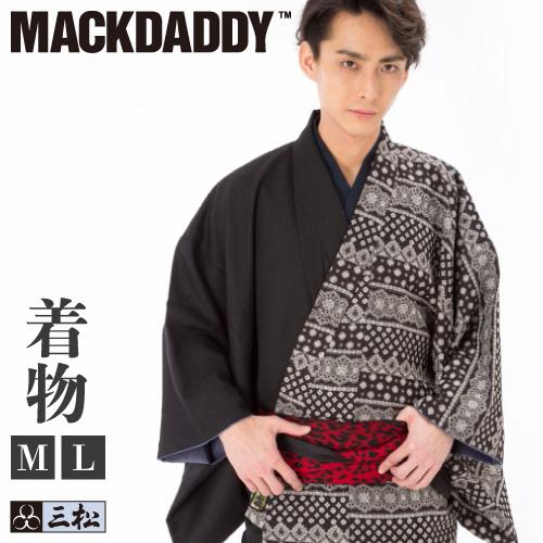 【 MACKDADDYコラボメンズ着物 】「 バンダナ 」Lサイズ 横段 モノトーン カジュアル 普段着 マックダディ
