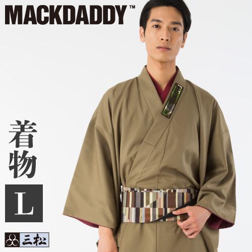 【メンズ】【男物】【MACKDADDY】コラボ着物・メンズ着物・カジュアル着物(ベージュ)Lサイズ