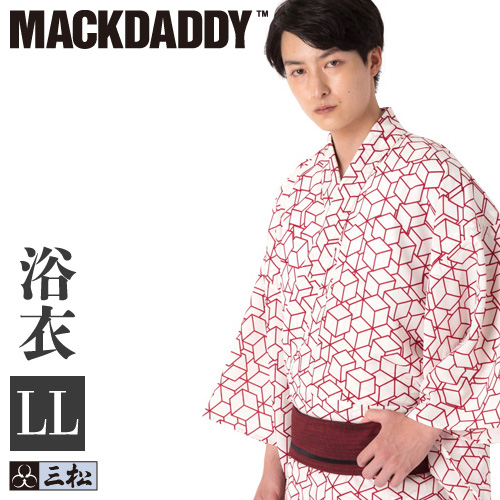 三松×マックダディ コラボメンズ浴衣 「 キューブ 」( 赤白 ) LLサイズ