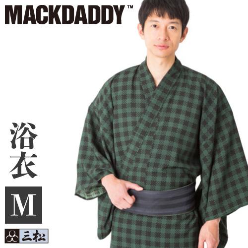 【 在庫処分 】【 メンズ浴衣 】「 チェック 」( モスグリーン ) 三松 × マックダディ コラボ 男物 男性 浴衣 緑 グリーン 格子 幾何学 個性的 MACKDADDY 仕立て上がり ポリエステル Mサイズ