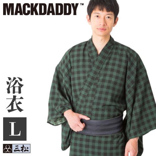 三松×マックダディ コラボメンズ浴衣「 チェック 」( モスグリーン ) Lサイズ