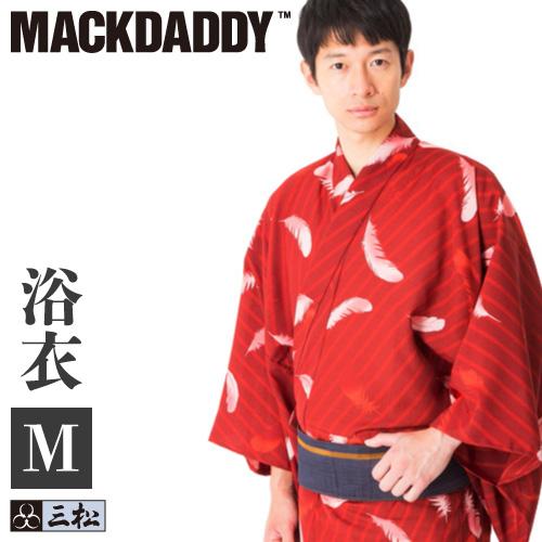 【 在庫処分 】【 メンズ浴衣 】「 フェザー 」( エンジ ) 三松 × マックダディ コラボ 男物 男性 浴衣 赤 レッド 羽 個性的 MACKDADDY 仕立て上がり ポリエステル Mサイズ