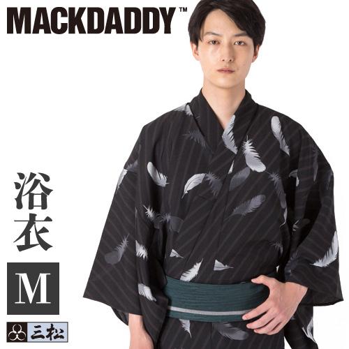 きものの三松 オリジナル浴衣 MACKDADDY メンズ 浴衣 高級 いつでも送料無料 フェザー ブラック Mサイズ 黒 個性的 ポリエステル マックダディ M コラボ プレタ 仕立て上がり 男物 男性