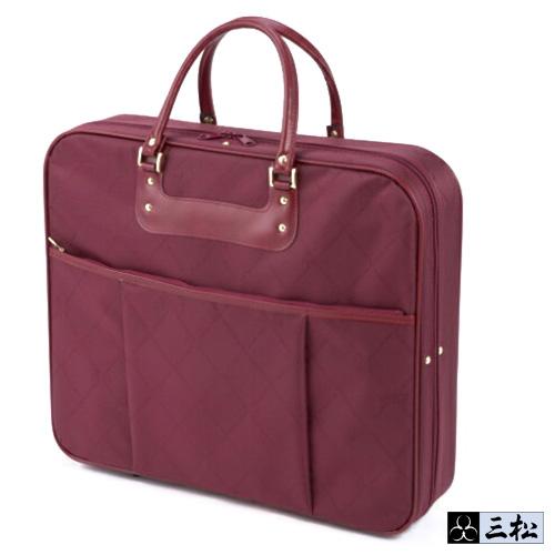 「 着物バッグ 」( ワイン )和装バッグ きものバッグ 赤 持ち運び 便利