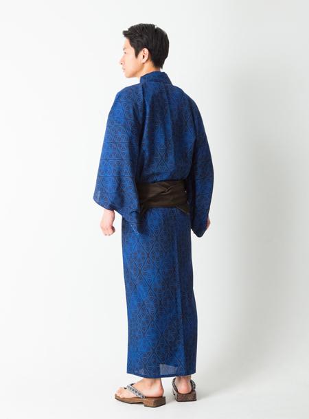 【 メンズ浴衣 】 「 切子 ( きりこ ) 」 ( ネイビー ) 男物 男性 ゆかた モダン ポリエステル 紺 LLサイズ