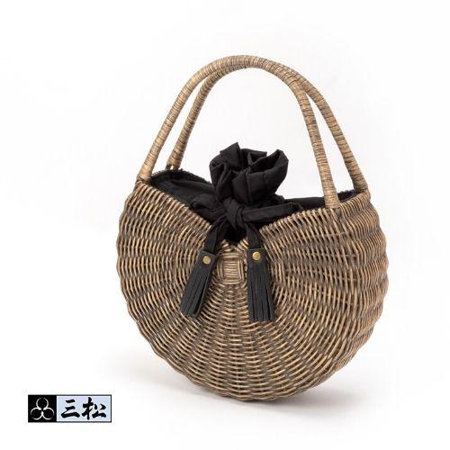 【 ラタン丸型バッグ 】 ( ブラック ) かごバッグ ラタン バッグ ハンドバッグ ゆかた 浴衣 夏着物 夏 カジュアル 天然素材 黒 大人