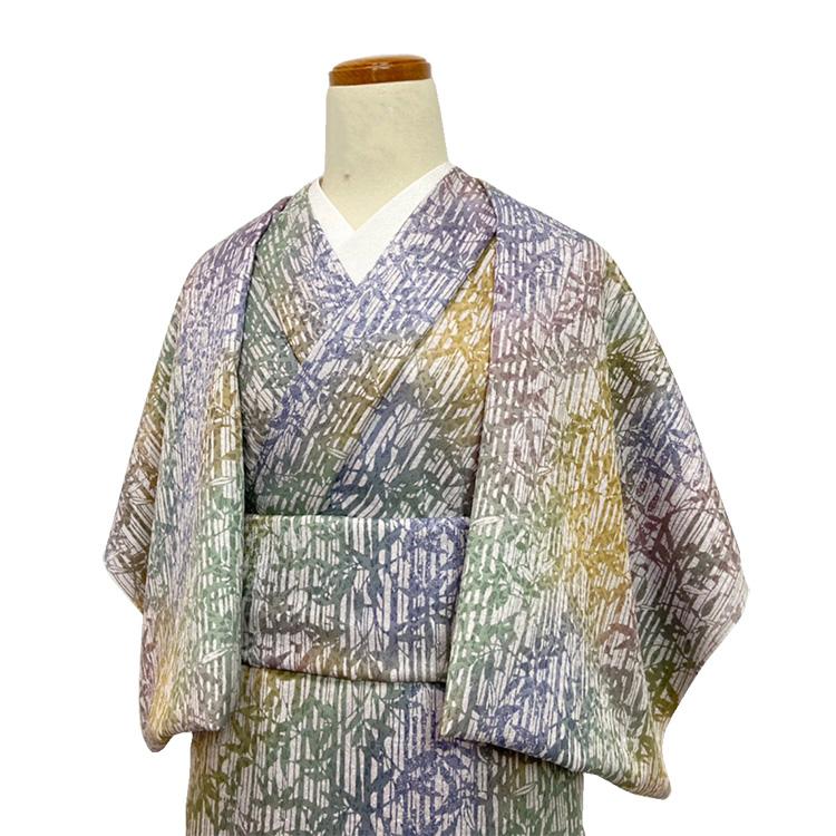 洗える着物の仕立て付き ポリエステル/グラデーション地に竹笹柄 バチ衿単衣仕立て 反物·仕立て代込み 単衣ハイテク仕立て 既製オーダーサイズ