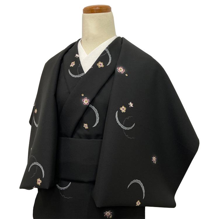 洗える着物の仕立て付き ポリエステル/黒地に雪輪取りと小花柄 バチ衿単衣仕立て 反物·仕立て代込み 単衣ハイテク仕立て 既製オーダーサイズ