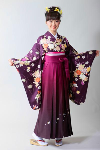 2018年卒業式ご予約受付中■振袖の袴レンタル一式│古典花柄│紫色│着物│2-8