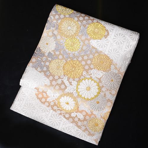 厳選高級袋帯 山口美術織物謹製 菊柄 【obi-25-278-y】