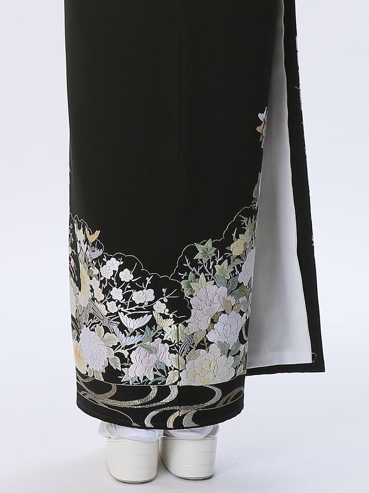 レンタル黒留袖レンタル 着物レンタル 留袖 t 25 610 フルセット 黒留袖 レンタル 結婚式 披露宴 レンタル 母親 親族 列席者 おすすめ 貸衣装 正絹姉妹 叔母 伯母H9I2ED