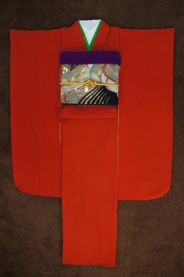 【朱色 オレンジ 赤 レッド 無地】 2020年1月成人式用振袖レンタルset 【シンプル 古典 レトロ 振袖 レンタル 成人式 20点セット 送料無料】