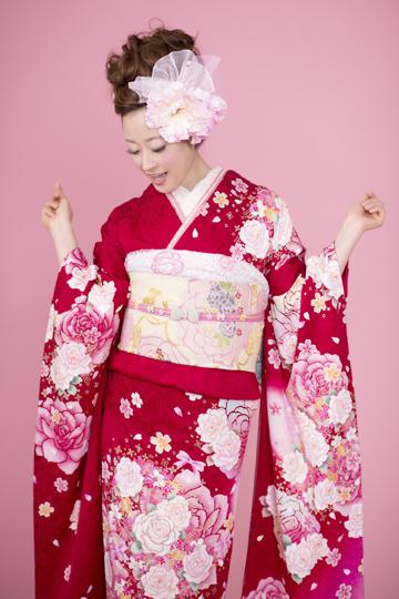振袖 レンタル 【赤・スイートローズ】成人式シーズン外(2月~11月) 振袖レンタル フルセット