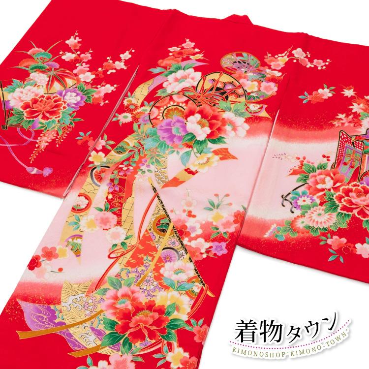 お宮参り 女の子 着物 初着 産着 正絹 鼓 毬 花柄 赤 女児 祝着 一つ身 掛け着 購入 販売