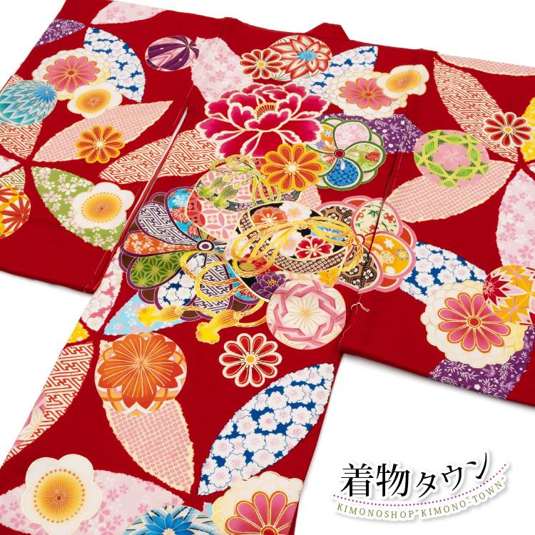 お宮参り 着物 女の子 初着 産着 正絹 毬 まり 桜 菊 赤 女児 祝着 榛原 はいばら 千代紙 掛け着 一つ身 のしめ 販売 購入