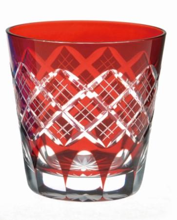 ≪伝統の江戸切子≫ 重ね矢来オールド赤【えどきりこ】【オンザロックグラス】