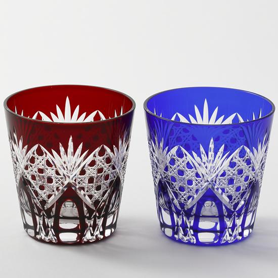 《江戸切子》《日本製》八角籠目 オールドペア【EDO KIRIKO cut glass】