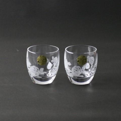 《江戸切子》《日本製》バラ ぐい呑みペア【EDO KIRIKO cut glass】【安い】