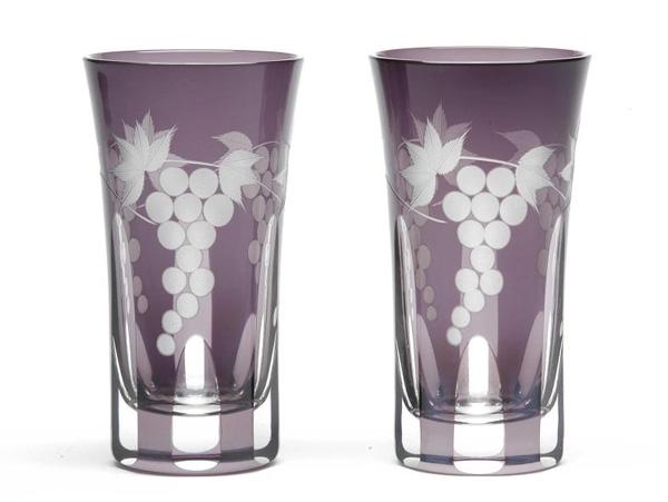 ≪伝統の江戸切子≫  葡萄文様 一口ビール2ヶ入【江戸切子】【グラス】