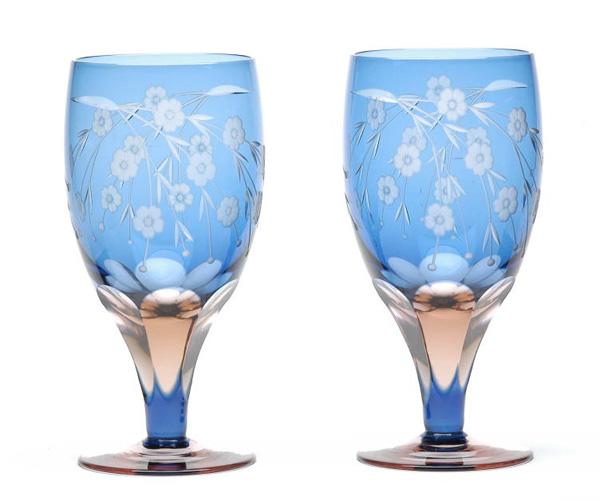 ≪伝統の江戸切子≫桜文様 足付ビール杯2ヶ入【えどきりこ】【グラス】