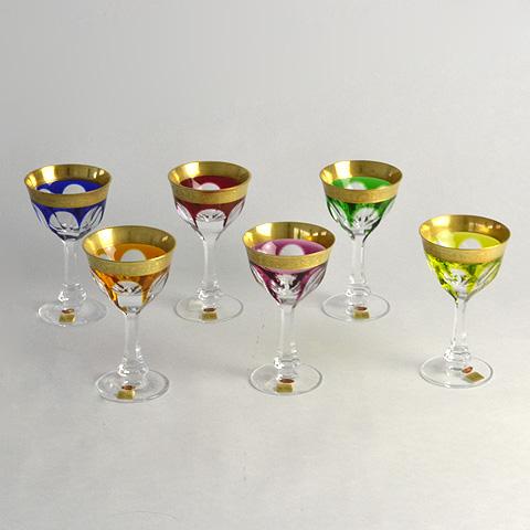 【送料無料】モーゼル アソート カラーミニワイングラス6Pc