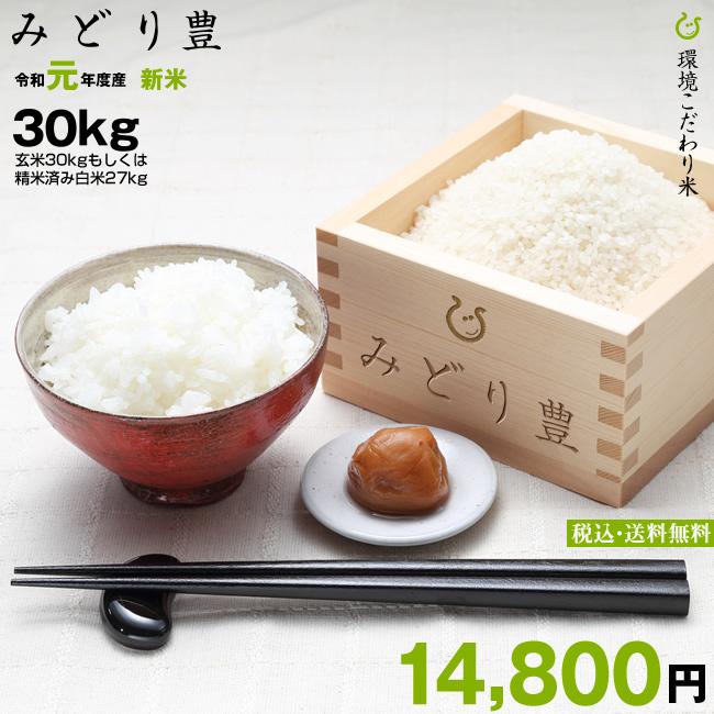みどり豊 環境こだわり米 精米済み白米27kg【令和元年:滋賀県産】
